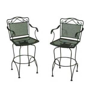 Wrought Iron Swivel Patio Chairs Wrought Iron Green Swivel Patio Bar Chairs 2 Pack Discontinued W3929 Bar Gr The Home Depot