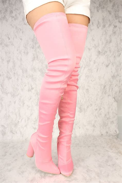 Boots Pink pink pointy toe thigh high chunky heel boots lycra