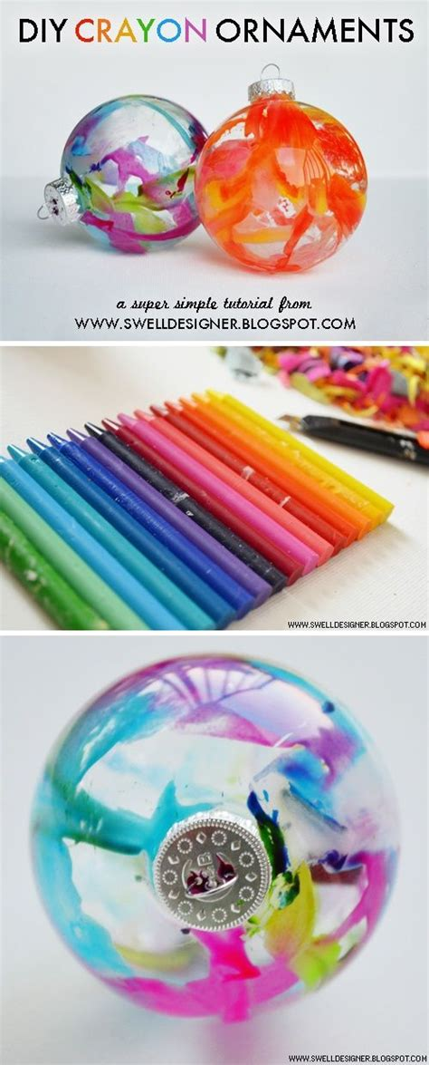 diy ornaments crayon diy crayon decorated ornaments craft for