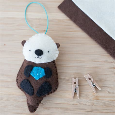 Handmade Felt Animals - handmade felt otter ornament decorative felt animal ornament