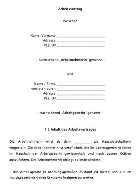 Hauswirtschafterin Bewerbung Muster Arbeitsvertrag Hauswirtschafterin Vorlagen De