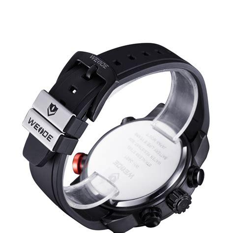 Weide Japan Quartz Silicone Sports Wh3401 Black White weide japan quartz silicone sports 30m water resistance wh3401 black white
