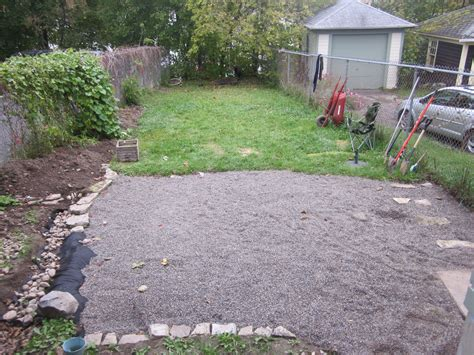 gravel backyard pea stone patio and fire pit pictures