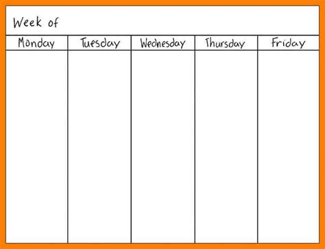 weekly schedule template for family