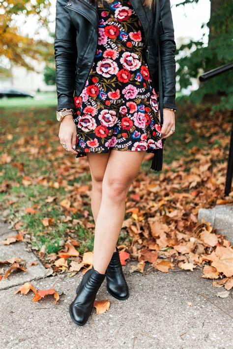 Minidress Fall fall floral mini dress glitter gingham