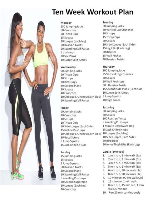 planning out the week fitness geekiness ten week workout plan diet and exercise pinterest