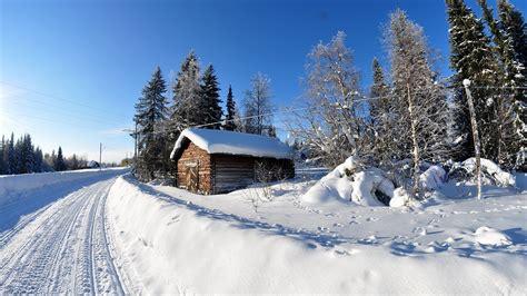 snowy cottage wallpaper 28862