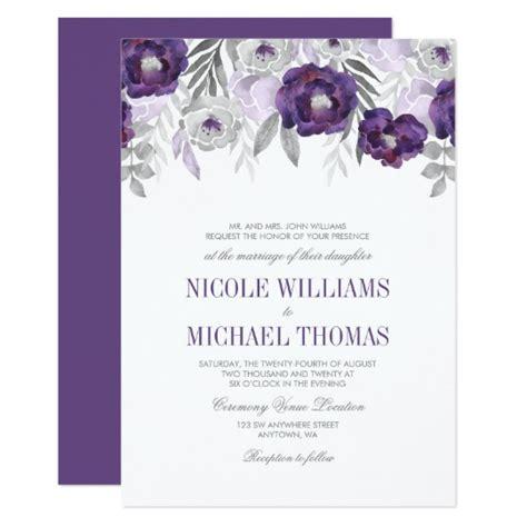purple grey watercolor flowers wedding invitations zazzle au