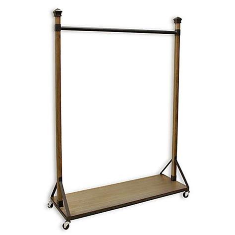 refined closet rolling garment rack with wood shelf base