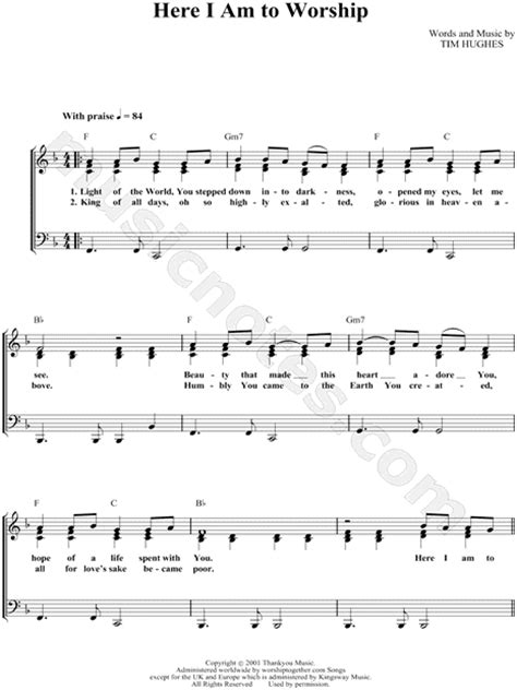 0008266166 here we are notes for tim hughes quot here i am to worship quot sheet music in f major