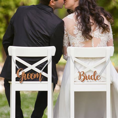 And Groom by Engraved Wooden And Groom Wedding Chair Signs