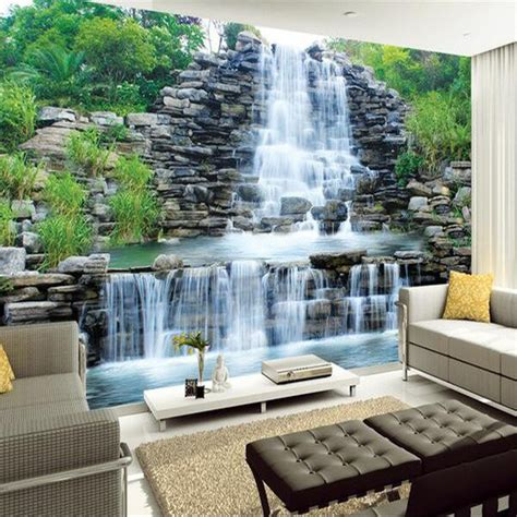 bedroom waterfalls aliexpress buy custom 3d mural wallpaper water flowing waterfall nature landscape wall
