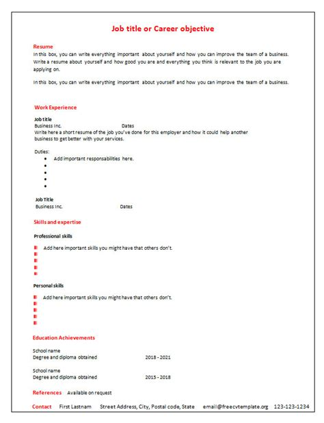 blank curriculum template 7 free blank cv resume templates for free cv