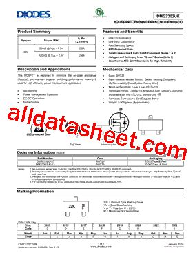 diodes incorporated uk dmg2302uk 데이터시트 pdf diodes incorporated