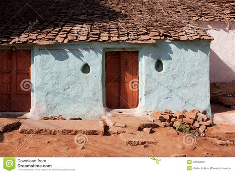 Colorfu Houses Painting entrance of the old village house royalty free stock