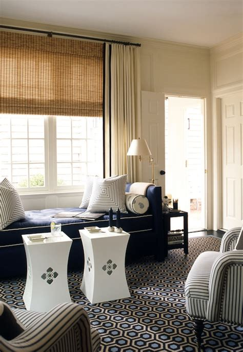 drapes over woven roman shades for the home pinterest tufted daybed design ideas