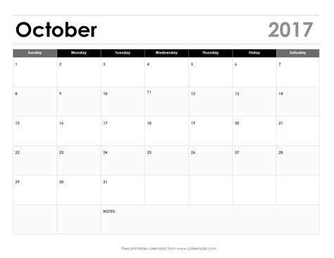 printable october 2017 calendar landscape blank october 2017 calendar