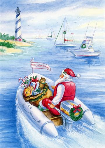 santa delivers gifts  speed boat red farm studios nautical christmas card  ebay