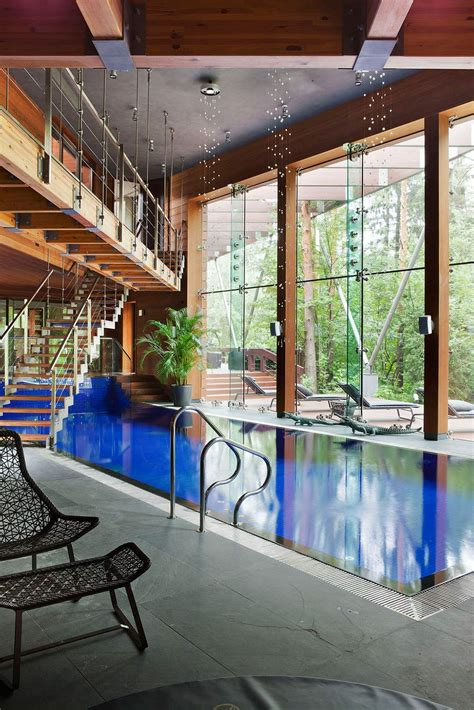 indoor pool sophisticated modern house near moscow by olga freiman