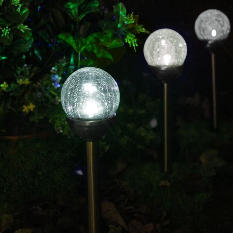 Path Lights Solar Crackle Glass Solar Color Changing White Led Bronze Path