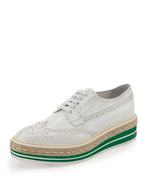 prada oxford shoes platform brogue trim leather oxford white bianco