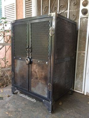 buy  hand crafted industrial steel locking liquor cabinet