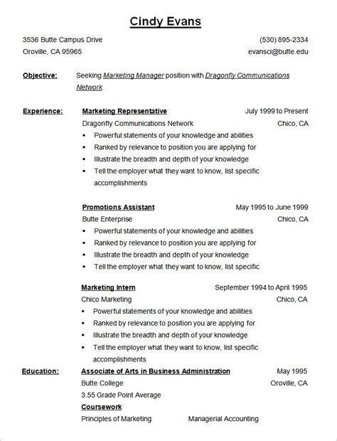 reverse chronological cv simple resume template
