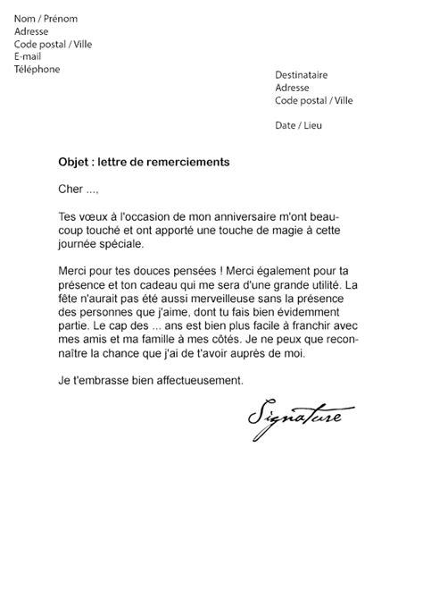 Lettre De Remerciement D Anniversaire Lettre De Remerciement Suite 224 Un Anniversaire Mod 232 Le De Lettre