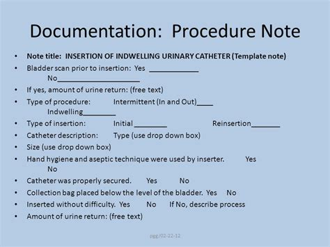 procedure note template prevention of catheter associated urinary tract infections