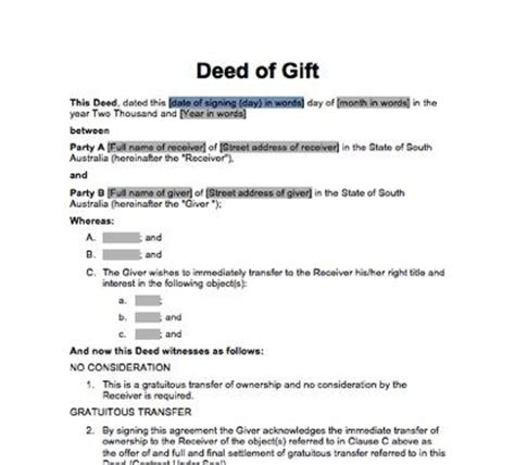 Deed Of Gift Template Australia sa deed of gift immediate transfer docdownload