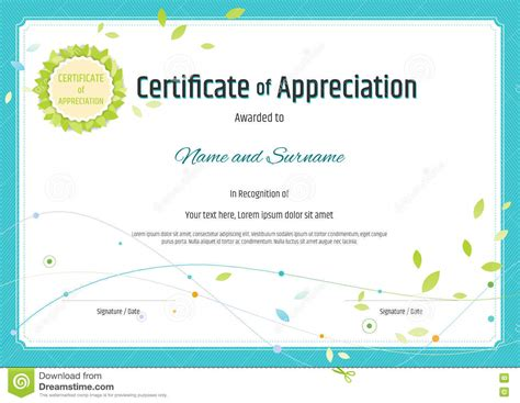 free templates for certificates of appreciation certificate of appreciation template with photo image