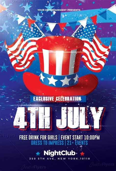 4th of july menu template 4th of july celebration flyer psd template creativeflyers