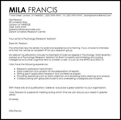 Recommendation Letter Research Assistant psychology research assistant cover letter sle livecareer