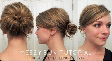 easy messy buns for shoulder length hair how to make a messy bun with medium hair latest style