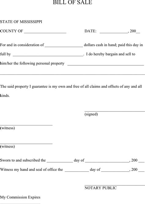 State Of Mississippi Property Records Mississippi Personal Property Bill Of Sale Form For Free Formxls