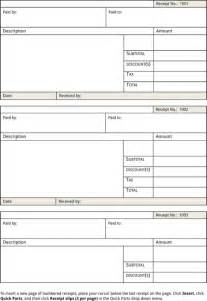 Receipt Template Free Printable by Blank Receipt Template For Excel Pdf And Word
