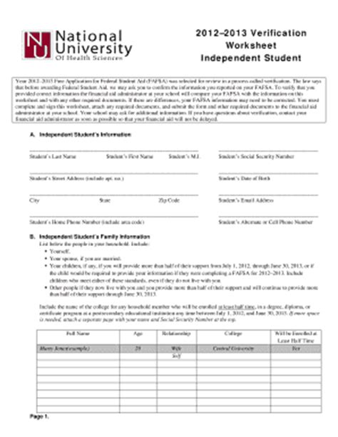 Fafsa Independent Verification Worksheet by Independent Verification Worksheet Lesupercoin Printables