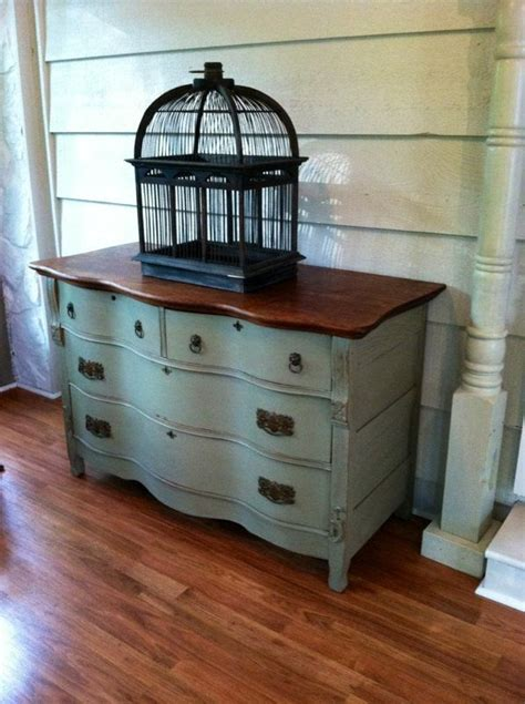 antique buffet dresser or sideboard distressed wood painted furniture vintage birds