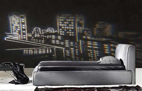 da letto moderna nera da letto nera moderna fotografia stock immagine