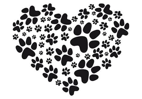 quot heart with black paw prints animal footprint pattern