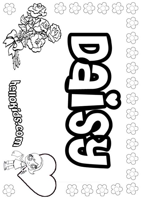 girls name coloring pages daisy girly name to color