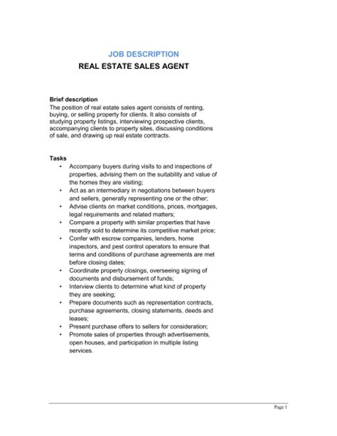 Real Estate Sales Agent Job Description Template Sle Form Biztree Com Real Estate Description Template