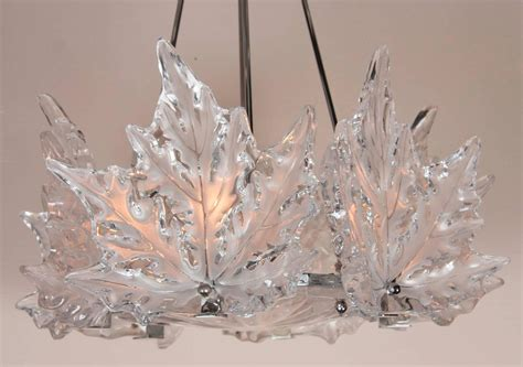 lalique chandelier leaf form lalique chandelier 2 available for sale at 1stdibs