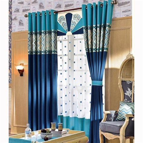 Modern Print Curtains Modern Curtains Blue Splicing Pattern Print Linen Cotton Room Darkening