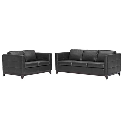 Cheap Leather Sofa And Loveseat Wholesale Interiors Modern Black Leather Rohn Sofa And Loveseat Set