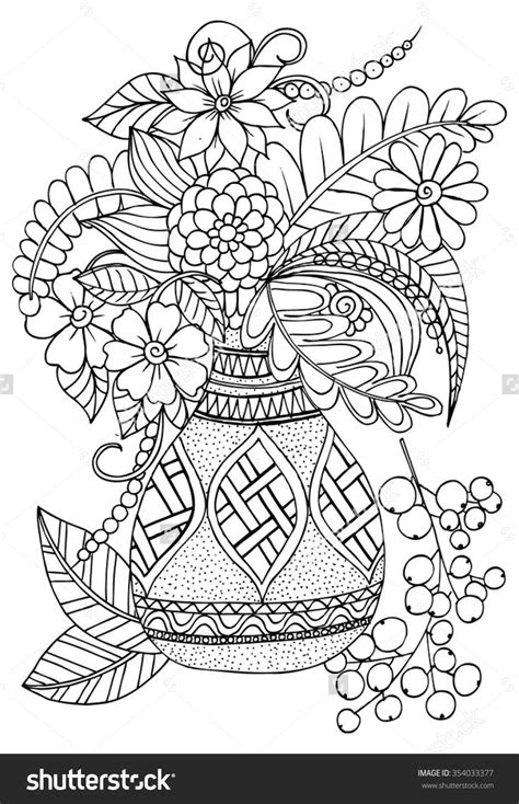 Vase With Flowers Coloring Page Floral Vase Colouring Page Colouring Flowers