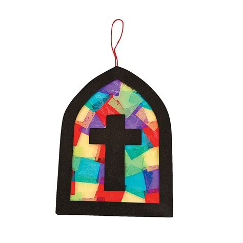 Tissue Paper Stained Glass Craft - tissue paper cross stained glass window craft kit