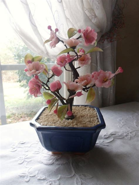 Artificial Cherry Fruit Plant With Glass Vase 1 quartz cherry blossom bonsai tree pink jade tree asian glass