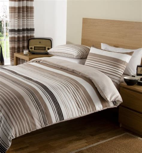 Brown Quilt Covers by Brown Linear Duvet Cover Pillow Cases Fitted Sheet