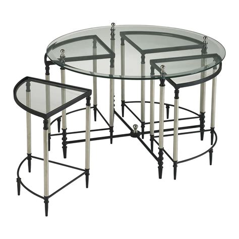 Glass Entry Table Large Glass Entry Table With 4 Nested Tables Kathy Kuo Home